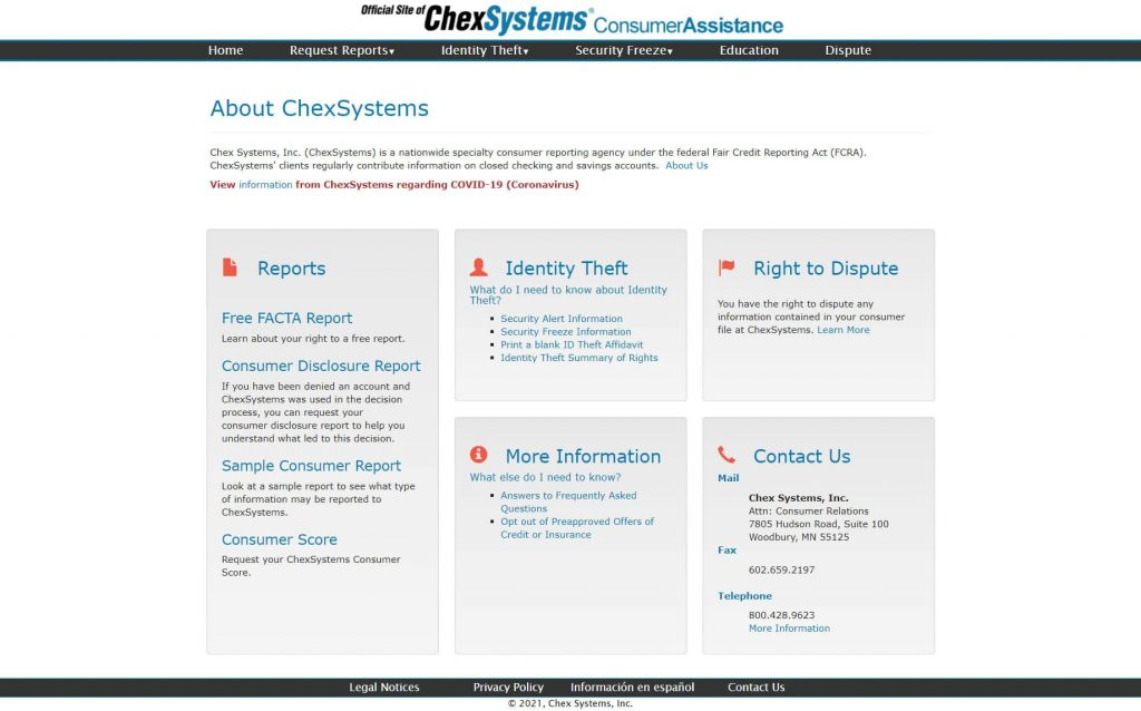 ChexSystem Home Page