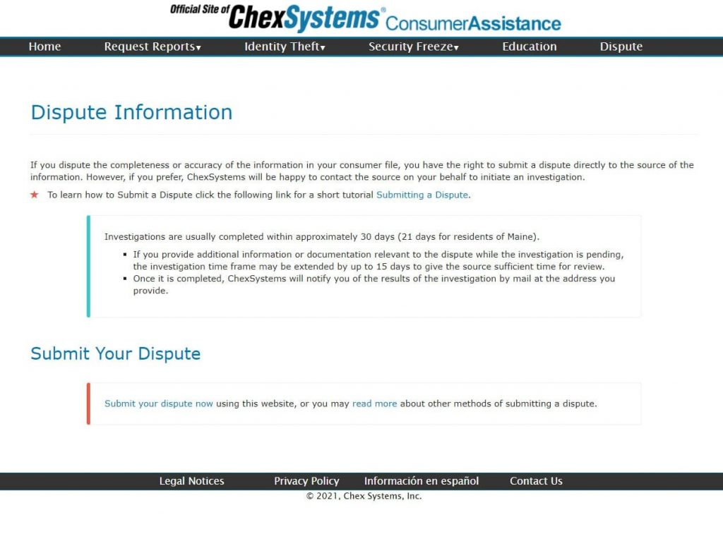 chexsystems disput page