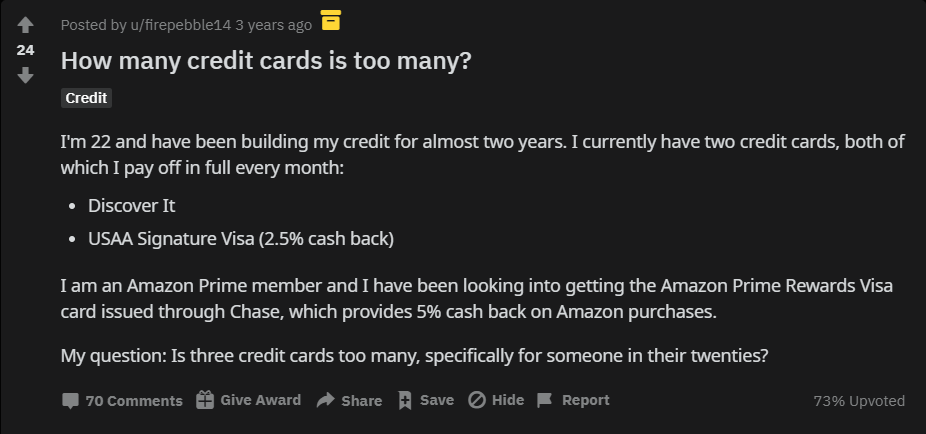 how many credit cards reddit